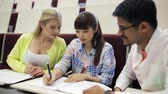 internacional : group of students with notebooks in lecture hall Stock Footage
