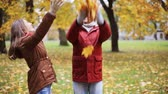 бросание : happy young couple throwing autumn leaves in park Стоковые видеозаписи