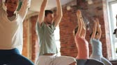 posture : group of people making yoga exercises in gym