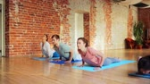 relaxation : group of people making yoga exercises in gym
