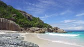 Сейшельские : island beach in indian ocean on seychelles Стоковые видеозаписи