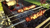 meat dish : hand turning skewers with meat on brazier outdoors