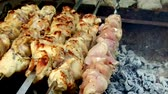 saboroso : meat roasting on skewers in brazier outdoors