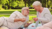 aperitivo : senior couple eating salad at picnic in park