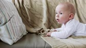 sweet : lovely baby boy on sofa at home