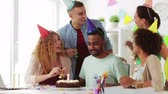 wish : corporate team celebrating one year anniversary Stock Footage