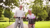 cyklus : happy senior couple riding bicycles at summer park