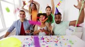 happy team throwing confetti at office party Stock Footage