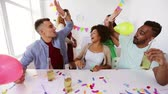 blower : happy team with drinks celebrating at office party