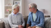 conflict : senior couple having argument at home Stock Footage