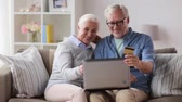 dinheiro : happy senior couple with laptop and credit card
