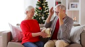 maravilhado : happy smiling senior couple with christmas gift