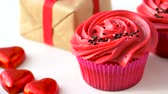 cream : close up of red sweets for st valentines day Stock Footage