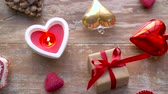 свеча : valentines day or christmas decorations on table