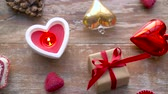 valentines day or christmas decorations on table