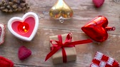 položit : valentines day or christmas decorations on table