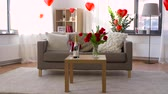 randka : living room or home decorated for valentines day