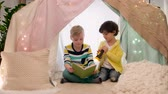 hyggelig : happy boys reading book in kids tent at home Stock Footage