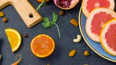 slices : close up of fruits, nuts and vegetables on table