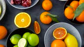 roma : close up of citrus fruits on stone table