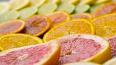 slices : close up of grapefruit, orange, lemon and lime Stock Footage