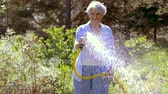 mangueira : senior woman watering lawn by hose at garden