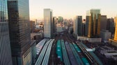 ferrovia : view to railway station in tokyo city in japan