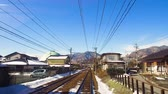 ferrovia : view to suburb from train or railway in japan