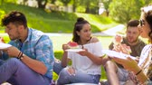 melão : happy friends eating watermelon at summer picnic Stock Footage