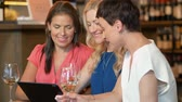 vinho branco : women with tablet pc at bar wine or restaurant