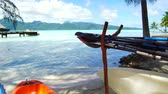 canoe : kayaks moored on beach in french polynesia