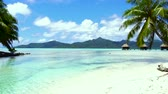 polinésia : tropical beach and bungalows in french polynesia