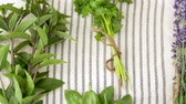 de ervas : greens, spices or medicinal herbs on table