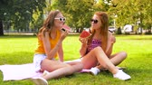 melão : teenage girls eating watermelon at picnic in park