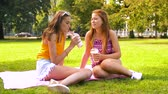 milk shake : teenage girls with milk shakes at picnic in park