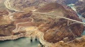 pat : aerial view of hoover dam at grand canyon Stock Footage