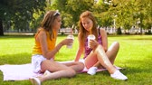 odstíny : teenage girls with milk shakes at picnic in park