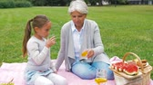 sedento : grandmother and granddaughter at picnic in park Vídeos
