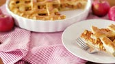 fruit slice : close up of apple pie and fork on plate