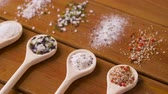 tempero : spoons with salt and spices on wooden table