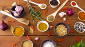 curry : different spices for cooking on wooden table