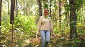 vegetal : young woman picking mushrooms in autumn forest Stock Footage