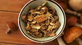fungi : dried mushrooms in bowl on wooden background