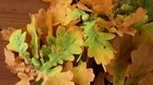 noz : oak leaves in autumn colors on wooden table Vídeos