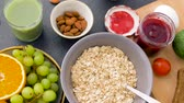 ardoise : healthy breakfast of oatmeal and other food