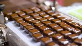 кондитерские изделия : chocolate candies on conveyor at confectionery