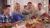 ziyafet : happy family having dinner party at home Stok Video