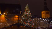 illumination : christmas tree and market at old town in tallinn Stock Footage