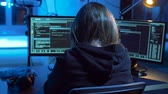 вирус : hacker creating computer virus for cyber attack Стоковые видеозаписи