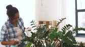 hidratar : happy woman spraying houseplants at home